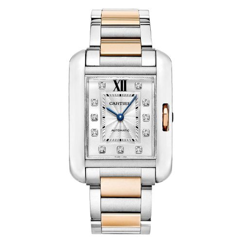 CARTIER Tank Anglaise Rose Gold & Diamonds Automatic Ladies Watch WT100025